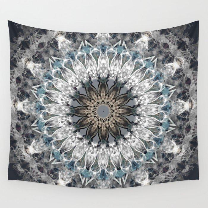Gray, blue Mandala Wall Tapestry