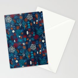 Earth, Water, Fire, Air - a watercolor pattern Stationery Cards