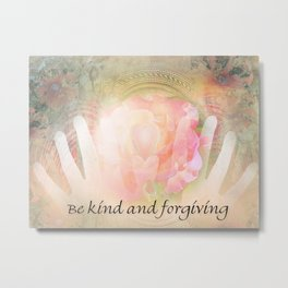 Orange Rose Heart and Hands Kind and Forgiving Metal Print