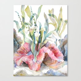 White Calla Lily and Corals Seaweed Watercolor Surreal Botanical Underwater Canvas Print