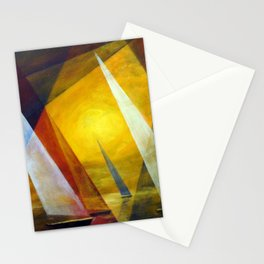Sailboats nautical summer ocean landscape painting by Hermann Segelboote Stationery Cards