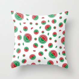 Watermelon in red/green Throw Pillow