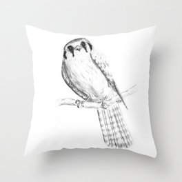 American Kestrel pencil front on Throw Pillow