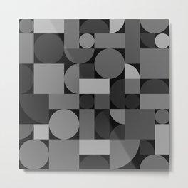 Mid Century Modern Geometric Gray Metal Print