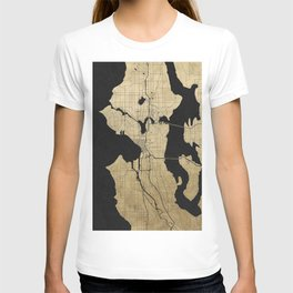 Seattle Black and Gold Street Map T-shirt