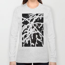 Snowy Branches On Black Background #decor #society6 Long Sleeve T-shirt