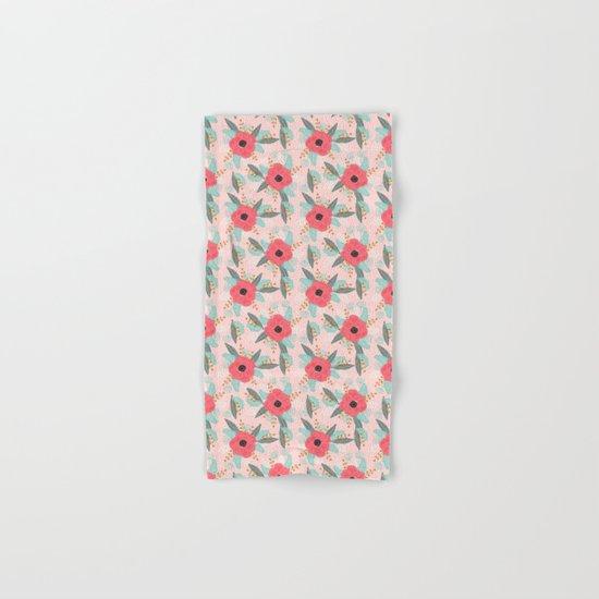 Poppies pink pastel red florals flowers pattern boho dorm college trendy garden plants poppy flower Hand & Bath Towel