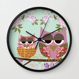 Mother Owl and Baby Owl Nest with flowers  Wall Clock