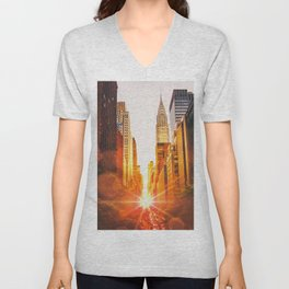 NYC Skyline Sunset Unisex V-Neck