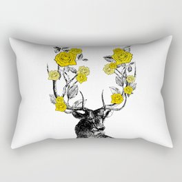 The Stag and Roses | Yellow Rectangular Pillow