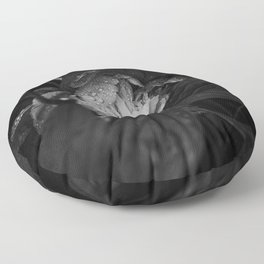 Peony after the rain - Black and White II Floor Pillow