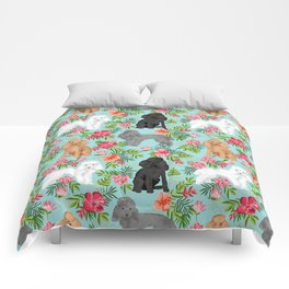 Toy Poodle dog breed pet portraits hawaiian floral flowers dog pattern custom dog lover art Comforters