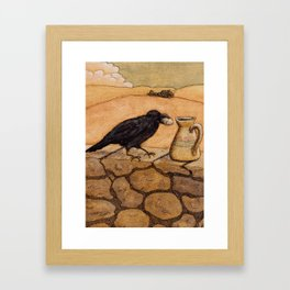 Crow and Pitcher from Aesop's Fables - Necessity is the mother of invention Framed Art Print