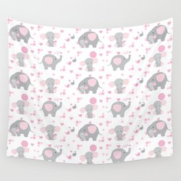 Pink Elephant Baby Girl Nursery Wall Tapestry