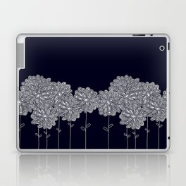 White Chrysanthemums on Blue Laptop & iPad Skin