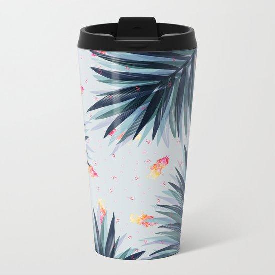 Unique Delicate Tropical Leaves Pattern Metal Travel Mug