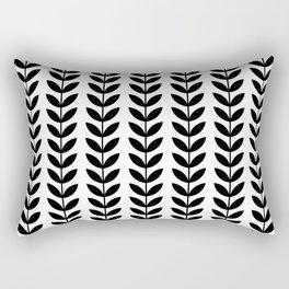 Black Scandinavian leaves pattern Rectangular Pillow