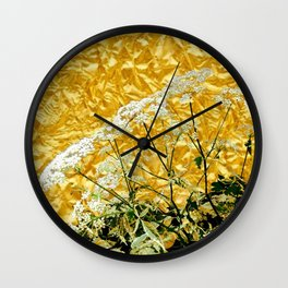 GOLDEN LACE FLOWERS FROM SOCIETY6 BY SHARLESART. Wall Clock