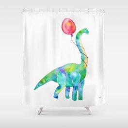brachiosaurus with red balloon Shower Curtain