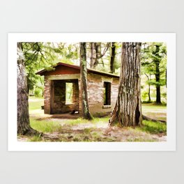 Abandoned brick building in the woods Art Print