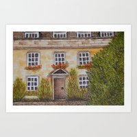 christ Art Prints featuring Christ College by Natillustratecreate