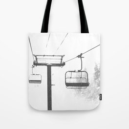 Chairlift Abyss // Black and White Chair Lift Ride to the Top Colorado Mountain Artwork Tote Bag
