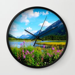 God's Country - Summer in Alaska Wall Clock