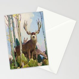 """""""Mule Deer Buck and Doe"""" by W Herbert Dunton Stationery Cards"""