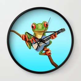 Tree Frog Playing Acoustic Guitar with Flag of Nicaragua Wall Clock