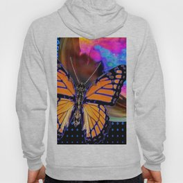 ORANGE MONARCH BUTTERFLY & SOAP BUBBLE IN BLUE OPTICAL ART Hoody