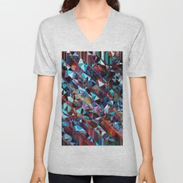 fractal geometric triangle abstract background in blue and brown Unisex V-Neck