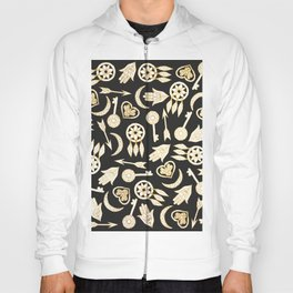 White and Gold Popular Symbols on Black Hoody