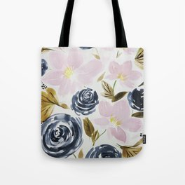Pink and Blue Watercolor Bouquet Tote Bag