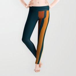 Blue Retro Stripes Leggings