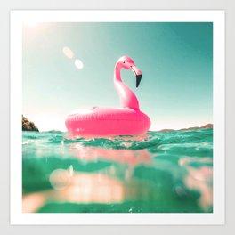 Flamingo on the beach Art Print