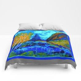 Western Golden Aspens Blue Mountain Landscape Art Comforters