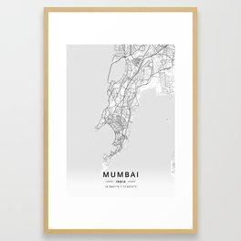 Mumbai, India - Light Map Framed Art Print