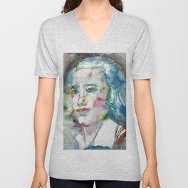 FRIEDRICH HOLDERLIN - watercolor portrait Unisex V-Neck