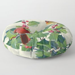 Cardinals on Tree Top Floor Pillow