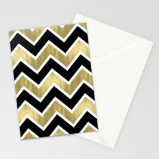 Gold Black Chevron Stripes Stationery Cards