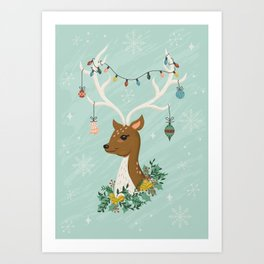 Vintage Inspired Deer with Decorations Art Print