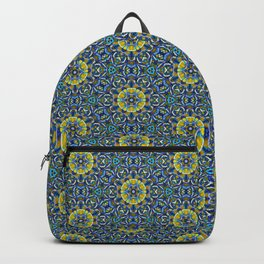 Blue and Yellow Beaded Geometric Pattern Backpack