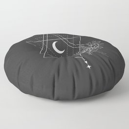 Flowers and Moon 3 Floor Pillow