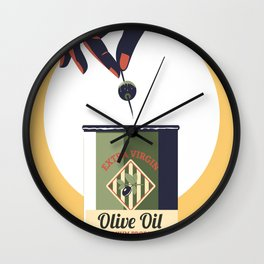 Olive oil vintage poster greece Wall Clock