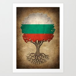 Vintage Tree of Life with Flag of Bulgaria Art Print