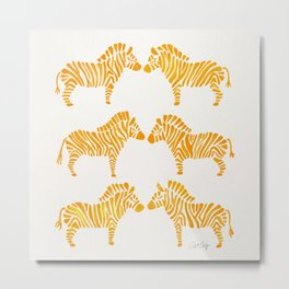 Zebras – Yellow Palette Metal Print