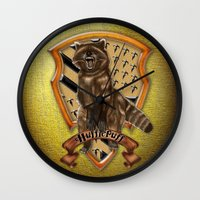 hufflepuff Wall Clocks featuring Hufflepuff harry potter by JanaProject