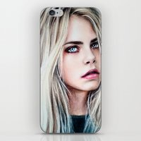 cara iPhone & iPod Skins featuring CARA by Laura Catrinella