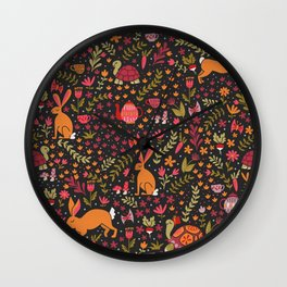 Tortoise and the Hare in Red Wall Clock