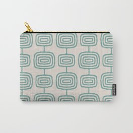 Mid Century Modern Atomic Rings Pattern Foam Green and beige 3 Carry-All Pouch